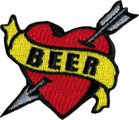 6280 Beer Banner Heart Tattoo Flash Alcohol Booze Drinking Love Iron On Patch