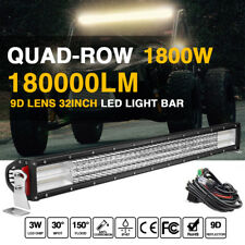 "4Row 10D 32"" 1800W LED Light Bar Straight Spot Flood Offroad Driving 34"" 35"" 30"""