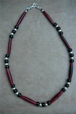 Native American Indian - Man Beads! Red Buffalo Bone & Black Crow Bead Necklace