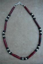 Native American Indian - Man Beads! Red Buffalo Bone & Black Crow Bead Necklace