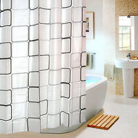 1.8m x 1.8m  Shower Curtains with Rings Bathroom PEVA Curtain Anti Mould