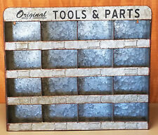ORIGINAL TOOLS PARTS HARDWARE STORE INDUSTRIAL 16 BINS FACTORY ZINC METAL BIN
