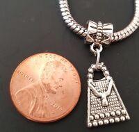 Purse Hand Bag Dangle Silver Bead Slider Large Hole fit European Charm Bracelet