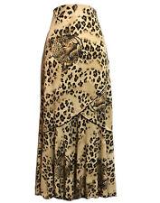 AMAZING Maxi Bohemian Skirt Brown LEOPARD Cheetah Animal Print Stretch 12/14