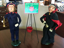 Byers Choice Salvation Army (2) with Kettle/Sign - Woman w/Bell, Man w. Clarinet