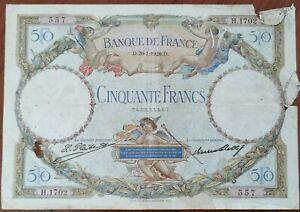 Billet 50 francs LUC OLIVIER MERSON 20 = 1 = 1928 FRANCE H.1702 (cf photos)