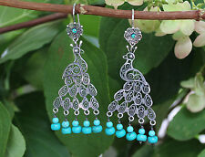Peacock Filigree Earrings Oaxaca, Mexico Stunning Hand Made Turquoise & Sterling