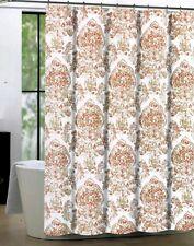 Tahari Shower Curtain Cognac Damask Floral Medallion White Coral Khaki