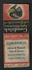 1930's Clarks Summit,PA - Clark Motor Co. DeSoto/Plymouth Art Match Matchcover