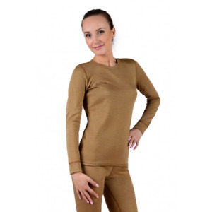 Womens 100% Camel Wool 2 layer Thermal Base layer Longsleeve Top
