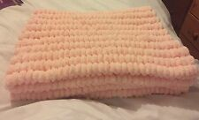 Hand knitted Rico pom pom blanket Baby pink approx size 22 inch x 34 inch
