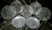 Vtg Federal Glass Heritage Clear 8 in. Luncheon Plates, Set of 7, c. 1940-50s