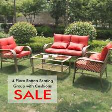 Rattan Sofa Furniture Set Patio Garden Lawn Cushioned Seat Brown 4PC