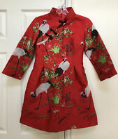 Cheongsam Traditional Dress Asian/ Oriental Style Red W/ Birds Lined S
