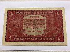 1919 Poland 1 Mark/Marka Polska Krajowa VF++ #5359