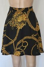 Ladies New Me High Waist Skirt Size 12 ~ Gold Chain Print ~ MBC