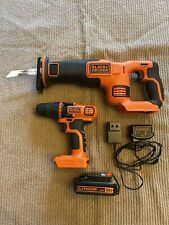 Black and Decker 20-Volt Lithium 1.5AH Drill Reciprocating  Saw Combo - 2pc