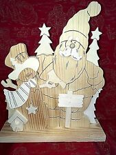 Wooden Ready-to-Paint Santa Snowman Scene 3-D Personalize #674
