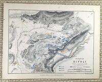1855 Antik Militär Map Of Italien Die Kampf Von Rivoli 1797 Napoleon Bonaparte