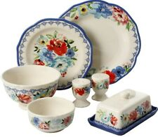 The Pioneer Woman 20-Piece Scalloped Blue Dinnerware Set for 4 +Serve Set New