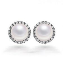 10mm Cubic Zirconia 6mm Freshwater Pearl Sterling Silver Halo Earrings Gift PE1