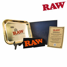 RAW ROLLING LIMITED EDITION GOLD PLATED TRAY & RAW GOLD DUST ZIPPO LIGHTER