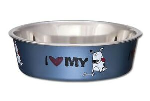 Pet Dog Bowl Bella I LOVE MY DOG 3 Sizes Stainless Steel Vet Recommended