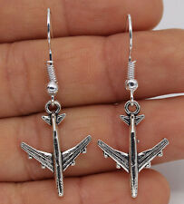 925 Silver Plated Hook - 1.65'' Airplane Plane Women Party Special Earrings #61