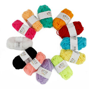 12 Colors Yarn Wool Lot Craft DIY Toys Knitting Crochet Pompoms Bundle