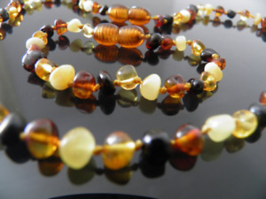 Genuine Baltic Amber Bracelet/Anklet or Necklace, Knotted Beads sizes 14-20 cm