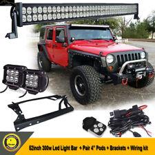 "52""inch Led Light Bar+4"" Pods+Mount Bracket+Wiring For Jeep Wrangler JK 2007-15"
