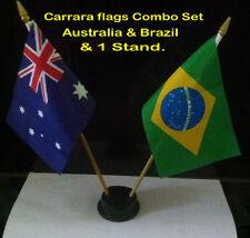 small desk flag set. Australia & Brazil flags with  plastic sticks &  stand