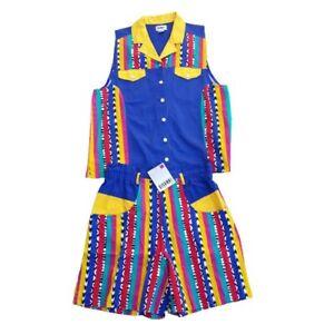 Rare 90's Vintage Gitano Plus Size 20W Outfit Shorts Vest Hip Hop Colorblock NWT