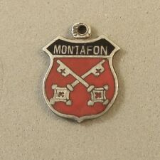 VINTAGE Silver MONTAFON Travel Shield Bracelet CHARM Austria Estate VT76E