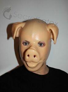 LATEX PIG HOOD NUDE RUBBER FETISH ZIPPER FULL HEAD BONDAGE BDSM GIMP KINK MASK