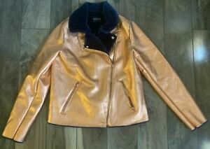 GUESS Los Angeles Zipper Jacket with Gold Exterior Blue Fur SIZE Medium Womens