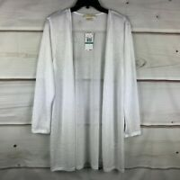 Michael Kors Plus Size Semi-Sheer Long Open Womens 0X White Cardigan Sweater New