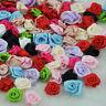 50pcs Mix Color Satin Ribbon Flower Rose craft/wedding appliques E40