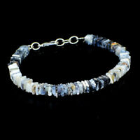 60.00 Cts Natural 7 Inches Long Dendrite Opal Untreated Beads Bracelet NK 36E41
