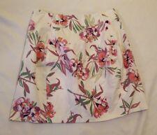 cba9b85be Joe Fresh Pink Purple White Cotton Floral Print Straight Pleated Skirt 16