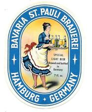 Old German Beer Label Bavaria Brauerei St. Pauli, Hamburg - Special Light Beer
