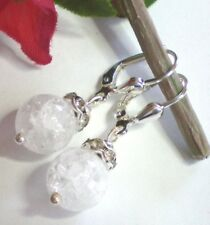 Schicke Bergkristall Ohrringe Ohrhänger 10 mm Kugeln gecrasht 925 Silber