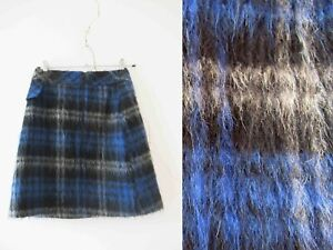 Cue Mohair Plaid Check Blue Skirt Small 6 Buy 3+ items for Free Post