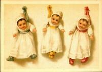 POSTCARD-3 HAPPY BABIES ATTACHED TO WALL BY RIBBONS-IRENCO ROBERT BIER CARD BK22