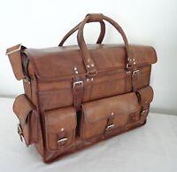 "16"" Vintage Leather Briefcase Luggage Handbag HoldAll Duffle Bag Weekend Travel"