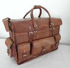 "16"" Vintage Leather Briefcase Luggage Handbag HoldAll Duffle Bag Weekend Travel"