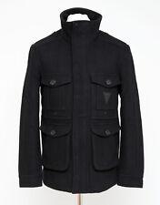 Hommes Taille M MEDIUM Soviétique Zip Veste vareuse militaire hiver laine mélangée noir très bon état