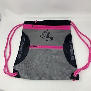 Title Boxing Club String Backpack Pink Gray Black