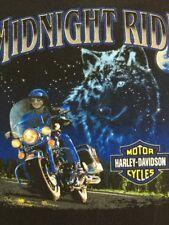 Harley Davidson Vintage Mens OR Women's XL T-Shirt Black S/S Midnight Ride GUC