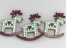 10 Botones de Madera Reno Caballo de balanceo de la Navidad 3 cm X 3 cm tarjetas Decoraciones